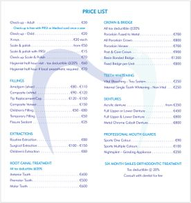 Pricelist for Borstal Gate Dental Practice